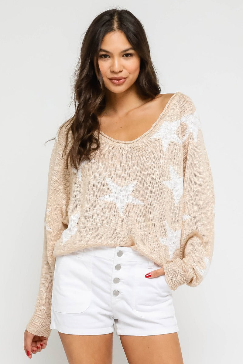 Knit Star Long Sleeve Sweater