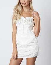 Load image into Gallery viewer, Satin Peasant Daisy Mini Dress