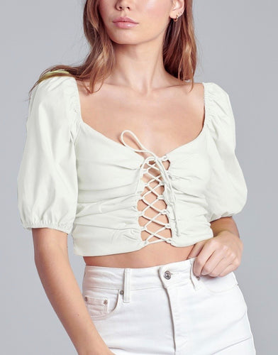 Lace Up Puff Short Sleeve Crop Top