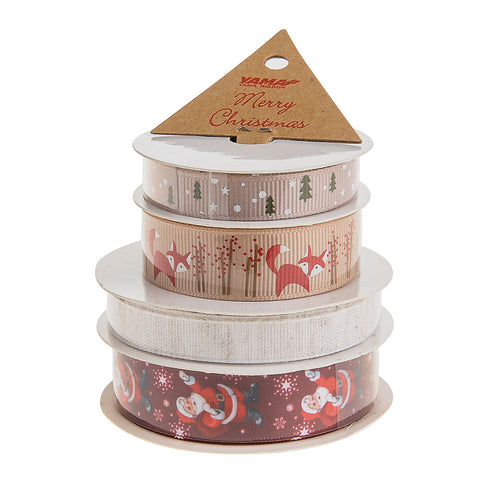 4 Pack of Santa Fox Nude Christmas Ribbon - Stocking Glitter Detail