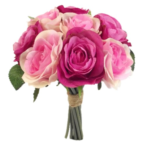 26cm Mixed Pink Rose Bundle - Silk Artificial Bridesmaids Flowers Bouquet