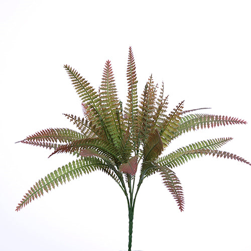 34cm Plastic Fern Bush Green/Brown