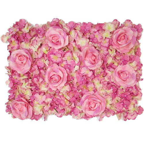Pink & Cream Rose and Hydrangea Flower Wall - 60cm x 40cm - Artificial Flower