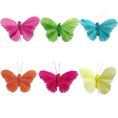 Multi Coloured Bright Feather Butterfly Butterflies (12 Pack)