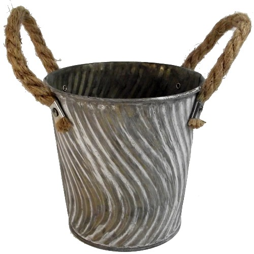 Small Round Metal Rope Planter Pot - Vase Bucket Florist Floristry Bulb Container