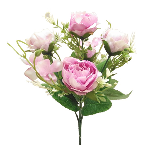 31cm Peony and Hydrangea Bush Pink/Lilac - Artificial