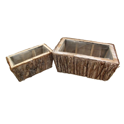 Set of Two Rectangular Planter Basket Containers - Flower Garden Plant Pot