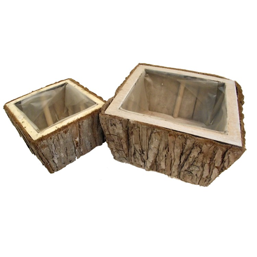 Set of Two Square Planter Basket Containers - Flower Garden Plant Pot