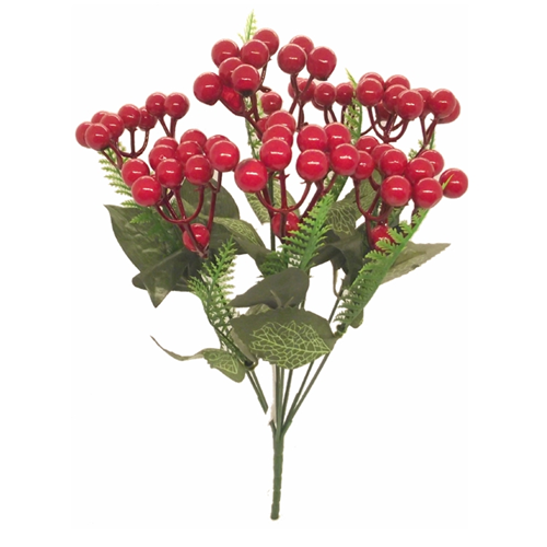 31cm Red Berry Bush with Fern - Christmas Artificial