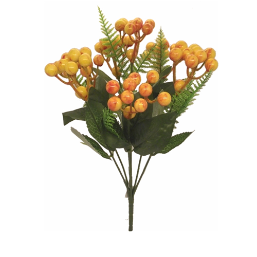 31cm Orange Berry Bush with Fern - Christmas Artificial
