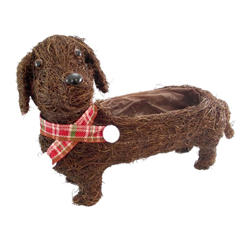 41cm Large Salim Brown Sausage Dog Planter with Lining - Christmas Decoration Gift Plant