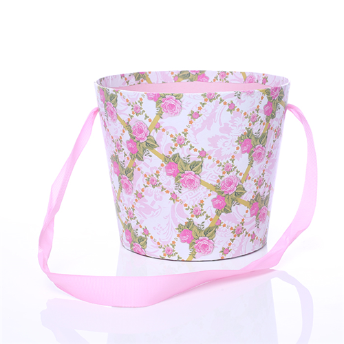 16cm Round Floral Pot with Ribbon Handle Pink Vintage Floral Design