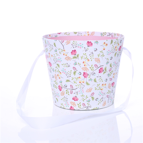 16cm Round Floral Pot with Ribbon Handle Pink/White Floral Design