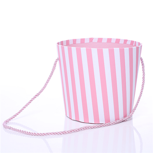 14cm Round Floral Pot with Rope Handle Pink/White