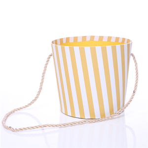 14cm Round Floral Pot with Rope Handle Mustard/White