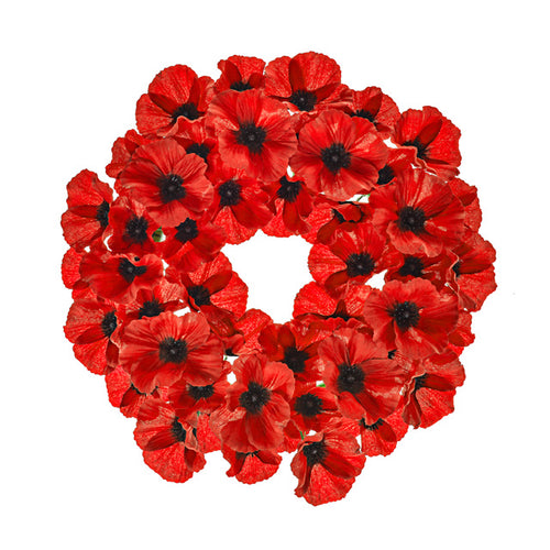 Artificial Bright Red Poppy Wreath