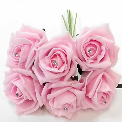 Princess colourfast foam rose with diamante bunch of 6 pale pink
