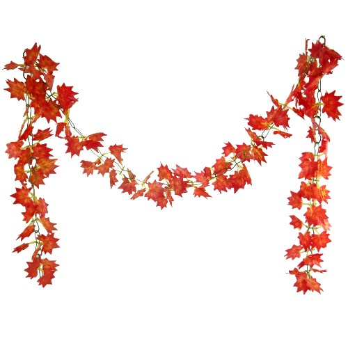 8ft Chainlink Autumn Maple Leaf Garland Red/Orange
