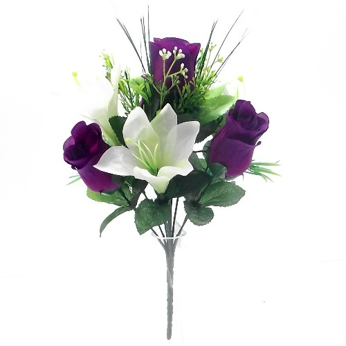 30cm Rosebud and Lily Bunch Purple & Cream - Artificial