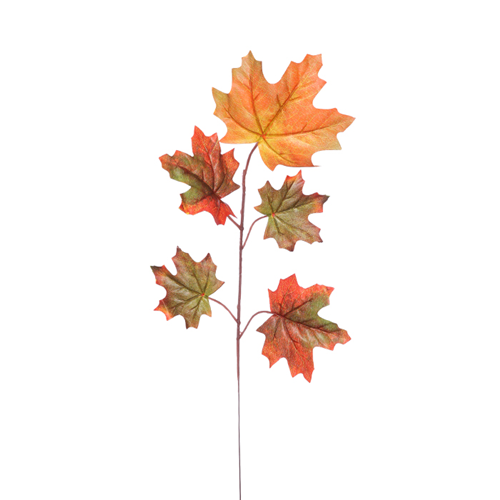 6 x Stems Five Leaf Maple Spray Orange/Brown/Green