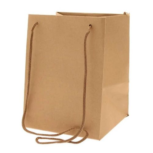 Pack of 10 - Natural Kraft Hand Tie Bags