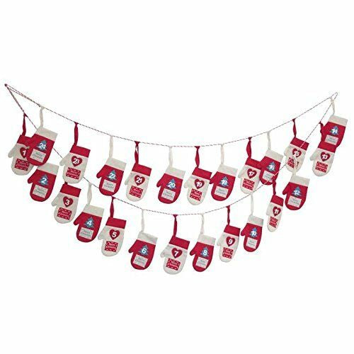 2.7M Advent Calendar Mittens Gloves Garland - Christmas Decoration