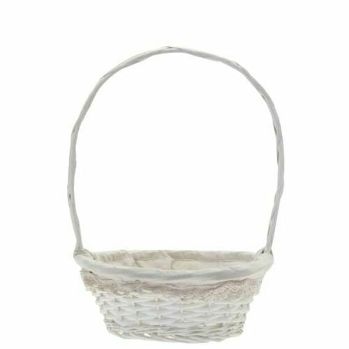 Round White Lace Basket