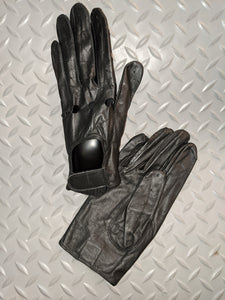 BLACK LEATHER GLOVES W/VELCRO CLOSURE
