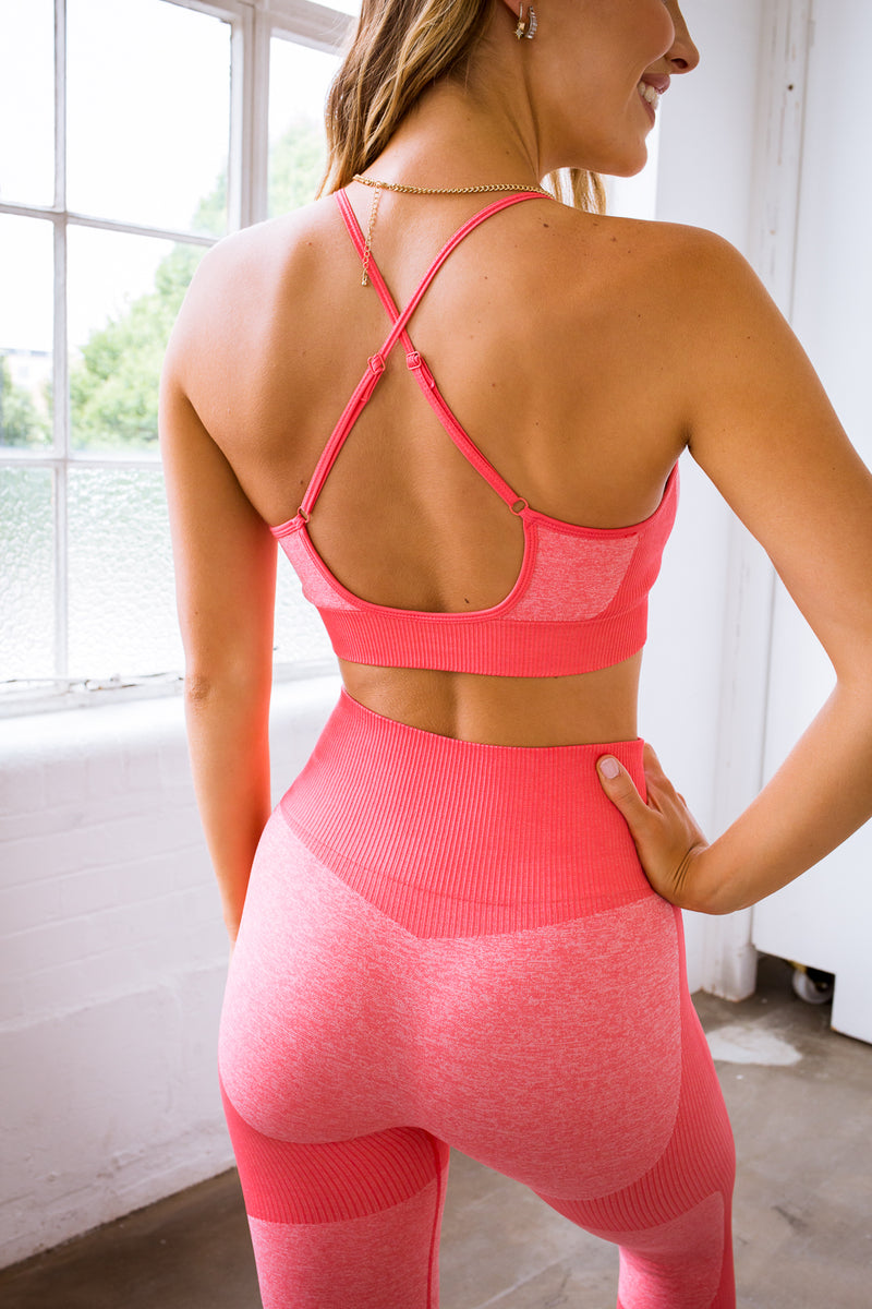 2 Piece Bright Pink Contour Yoga Set (Top & Bottom)