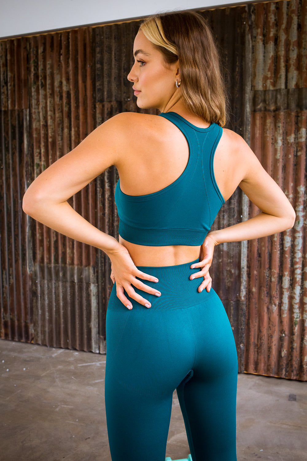 2 Piece Green Yoga Set (Top & Bottom)
