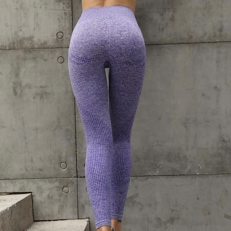 High Waist Seamless Leggings - Purple
