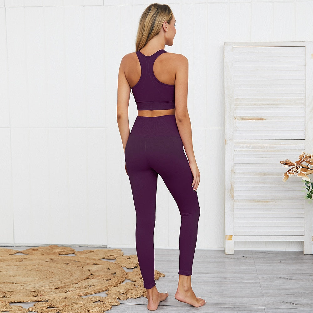 2 Piece Purple Yoga Set (Top & Bottom)