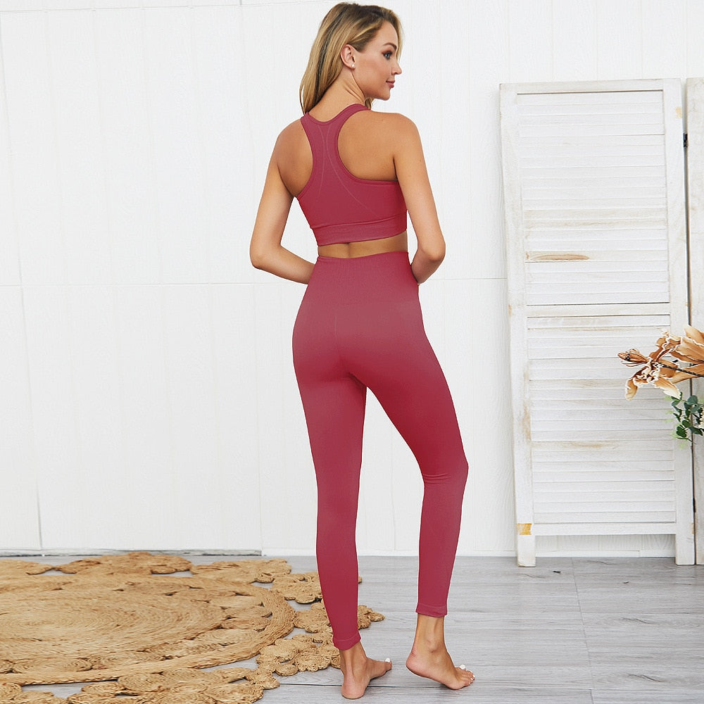 2 Piece Coral Yoga Set (Top & Bottom)