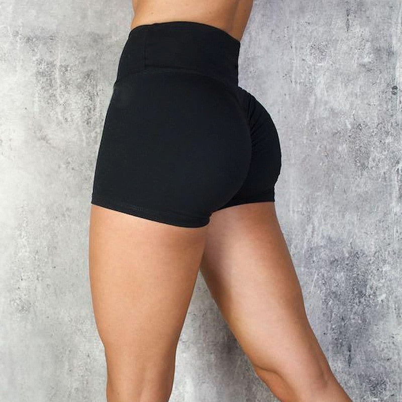 High Waist Workout Shorts - Black