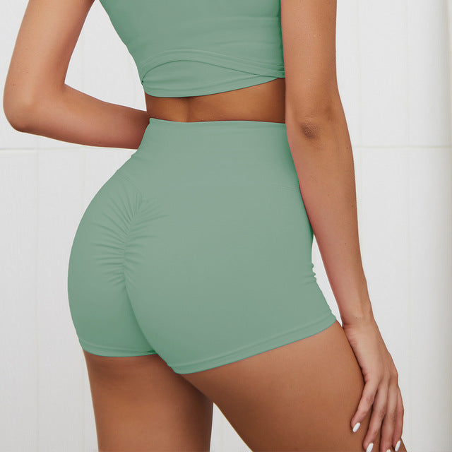 High Waist Workout Shorts - Green