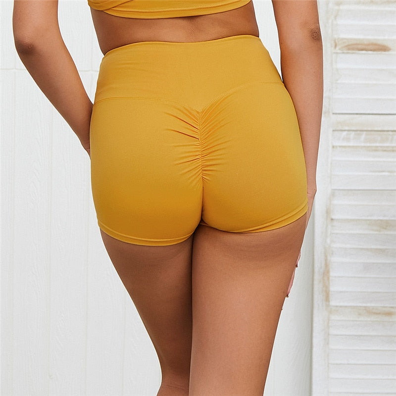 High Waist Workout Shorts - Yellow
