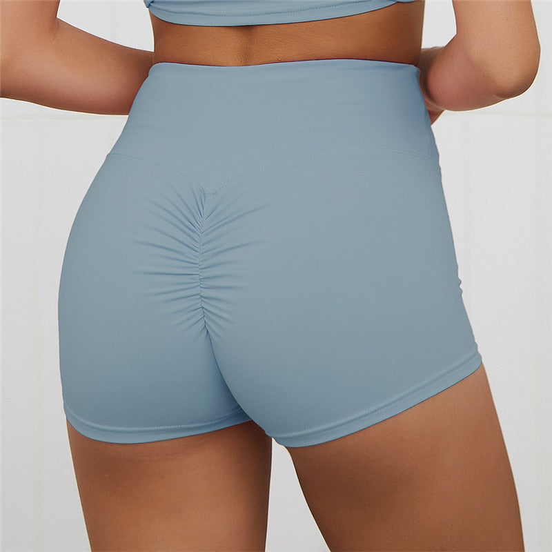 High Waist Workout Shorts - Blue