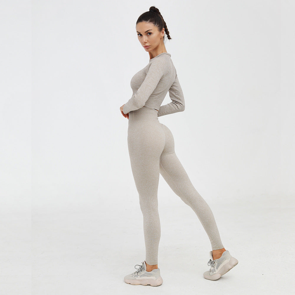 Long Sleeve Khaki Yoga Top