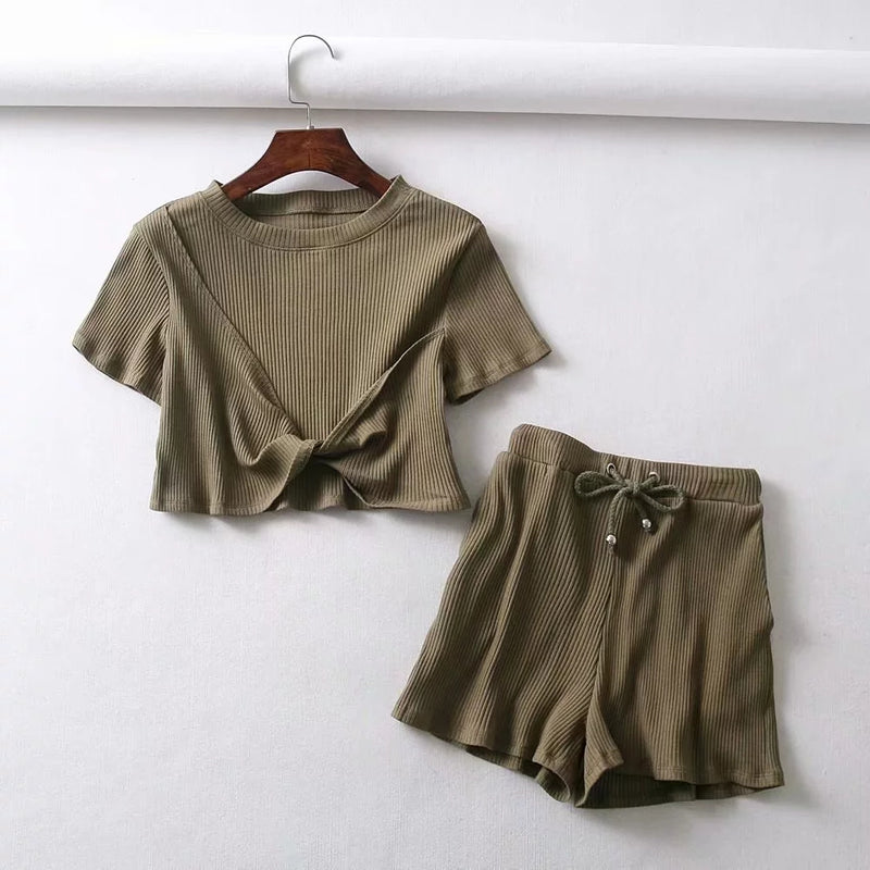 2 Piece Ribbed Crop Top & Shorts with Drawstring (Available in 5 Colours)