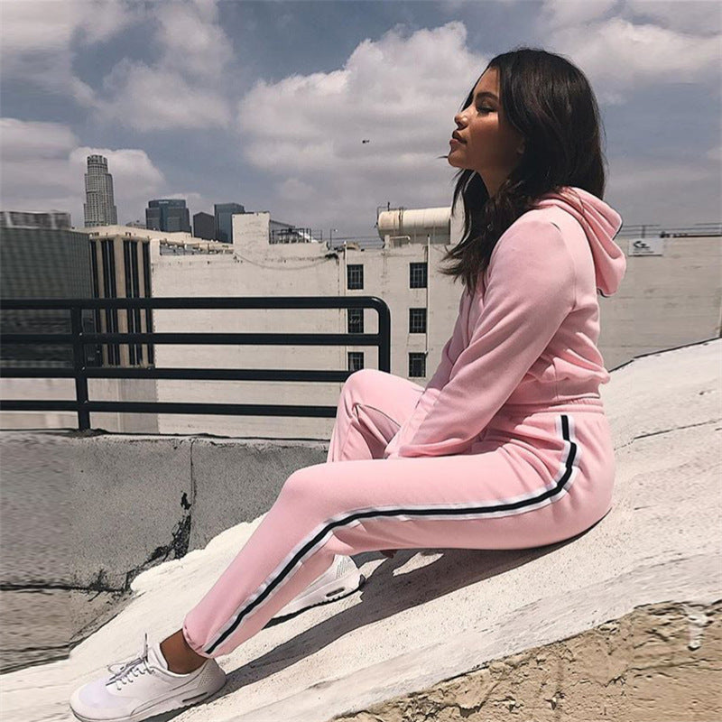 2 Piece Pink Tracksuit Set (Top & Bottom)