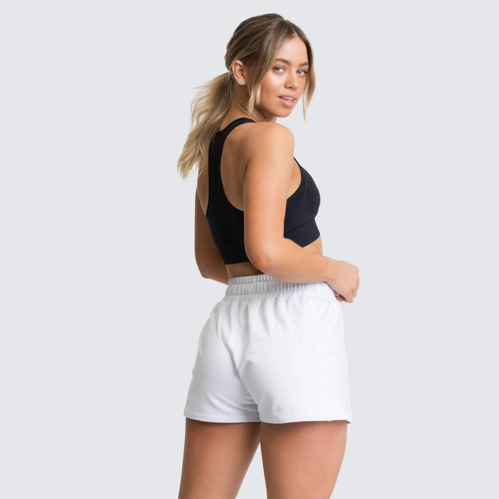High Waist Workout Shorts with Side Pocket - White