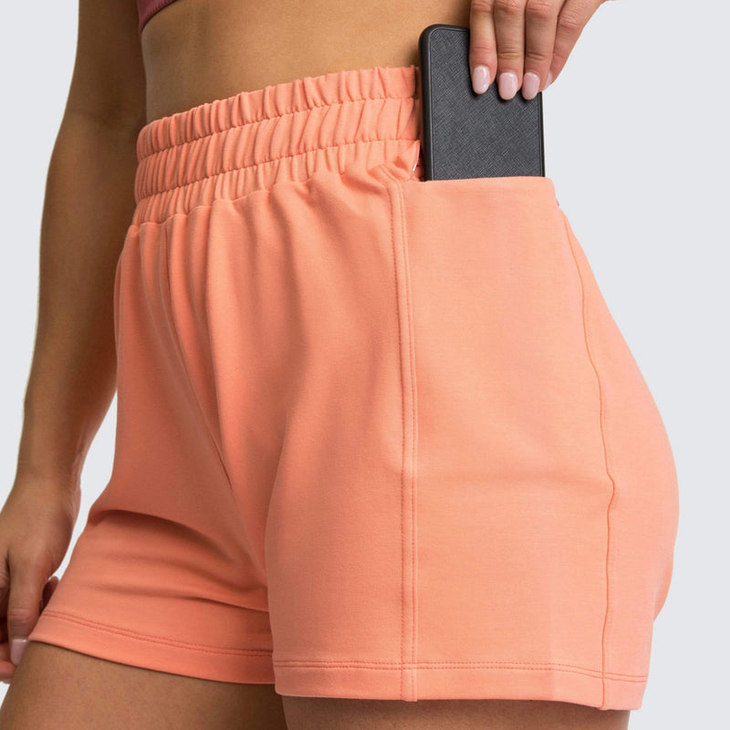High Waist Workout Shorts with Side Pocket - Peach