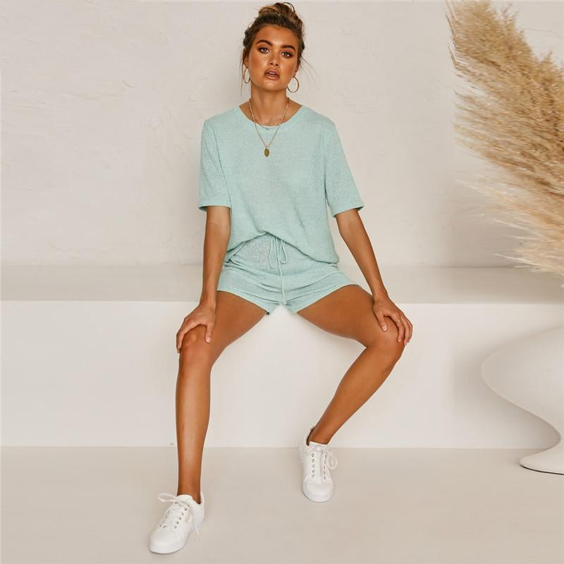 2 Piece O Neck Short Sleeve Top & Shorts - Green