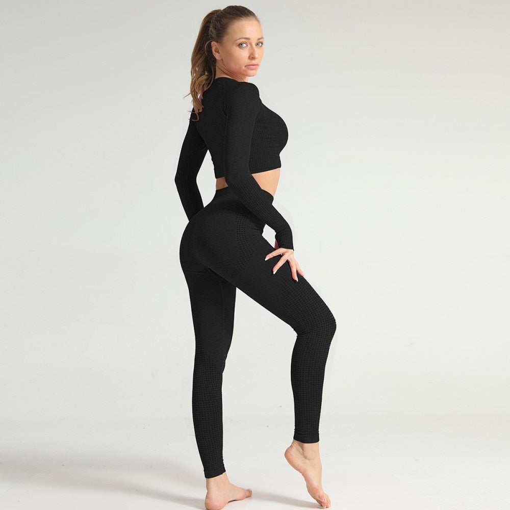 2 Piece Long Sleeve & Legging Set - Black