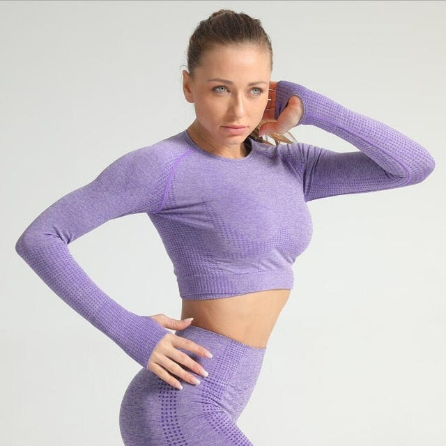 2 Piece Long Sleeve & Legging Set - Purple