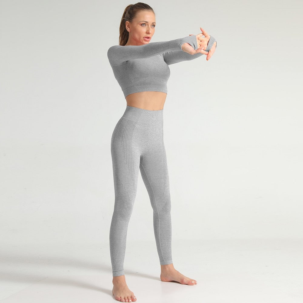 High Waist Seamless Leggings - Light Grey