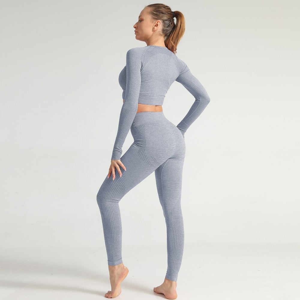 2 Piece Long Sleeve & Legging Set - Grey