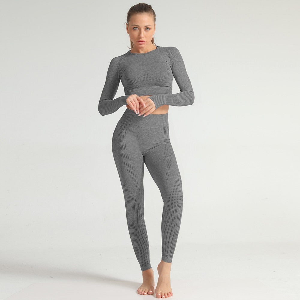 2 Piece Long Sleeve & Legging Set - Dark Grey