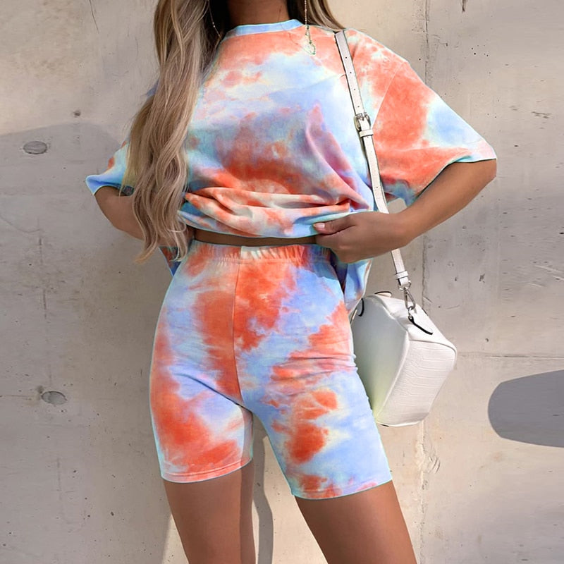Tie Dye Print T-Shirt & Shorts (2 Piece Set) - Blue/Orange