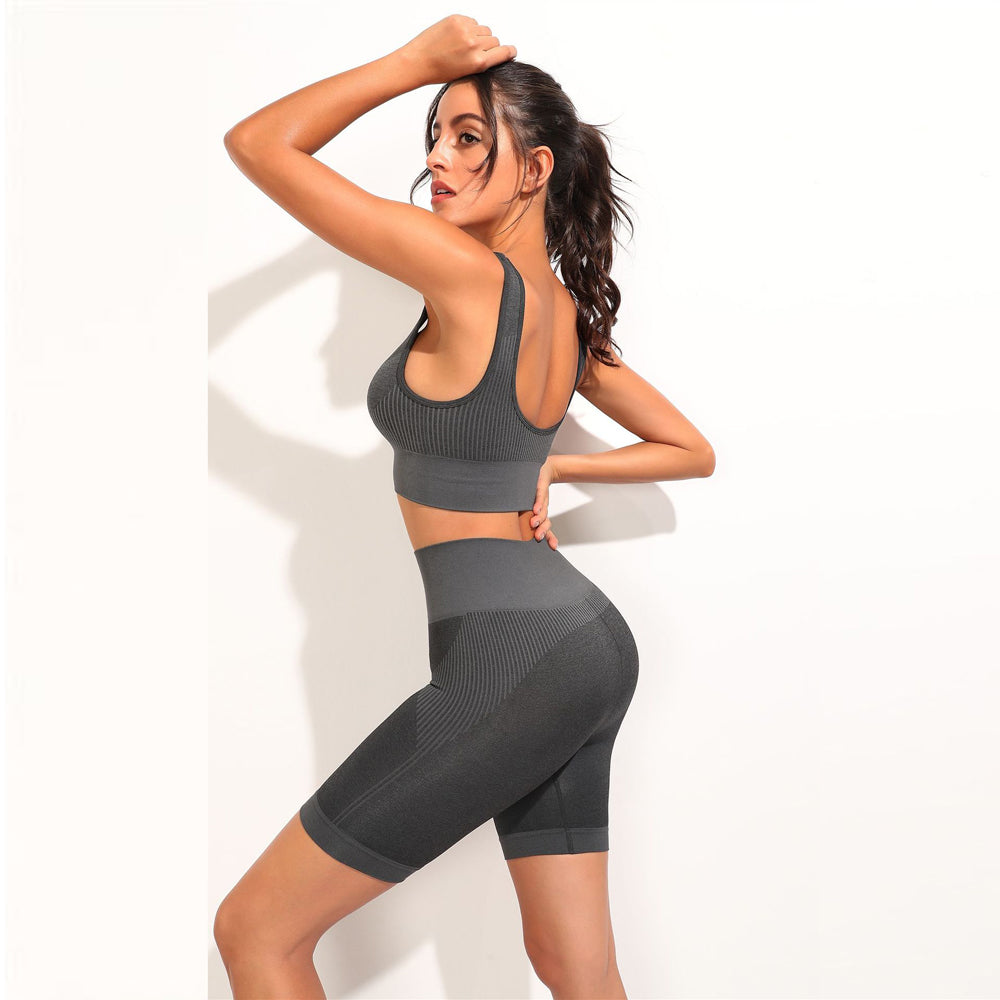 Seamless 2 Piece Crop Top & Cycling Shorts Set - Dark Grey